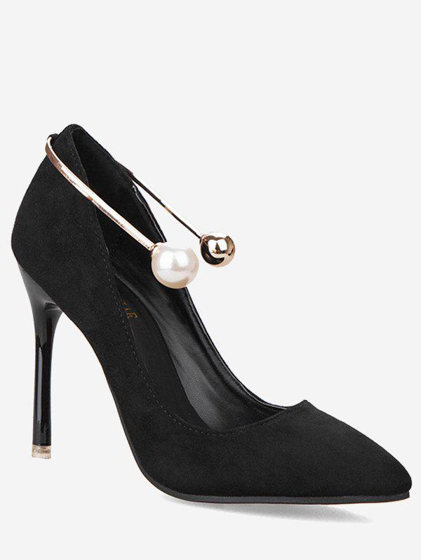 Faux Pearl Ankle Strap Stiletto Pumps - BLACK 38