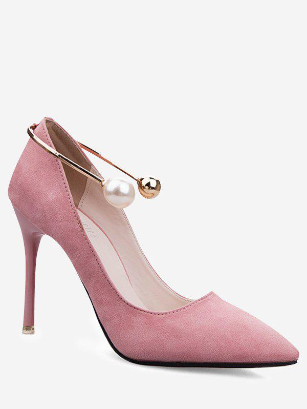 Faux Pearl Ankle Strap Stiletto Pumps - PINK 35