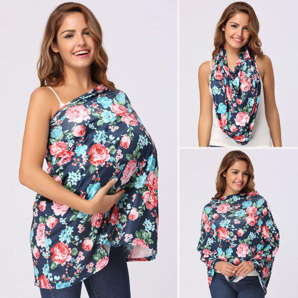 Floral Allover Printed Nursing Cover - PURPLISH BLUE