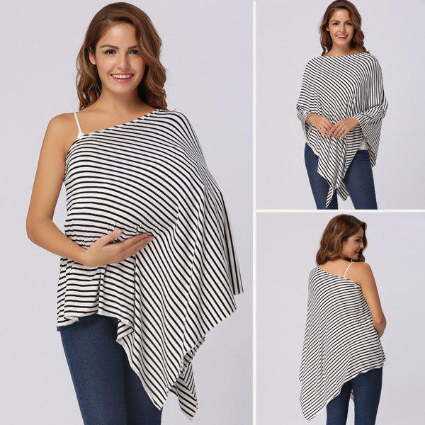 Stripe Printed Nursing Cover - WHITE