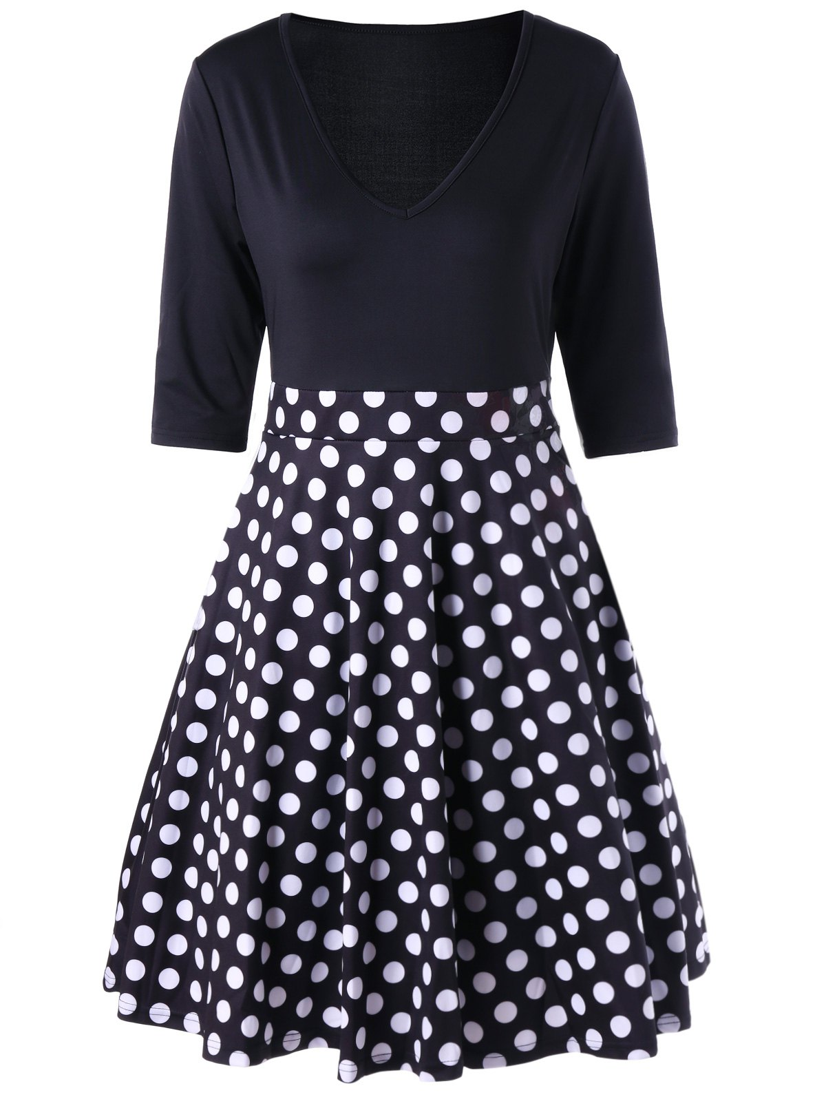 V Neck A Line Polka Dot Dress - BLACK L