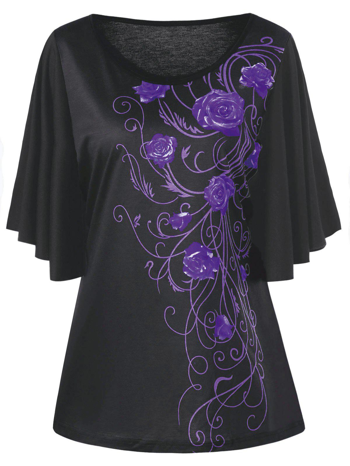 Plus Size Tiny Floral Drape Sleeve T-shirt - PURPLE 3XL