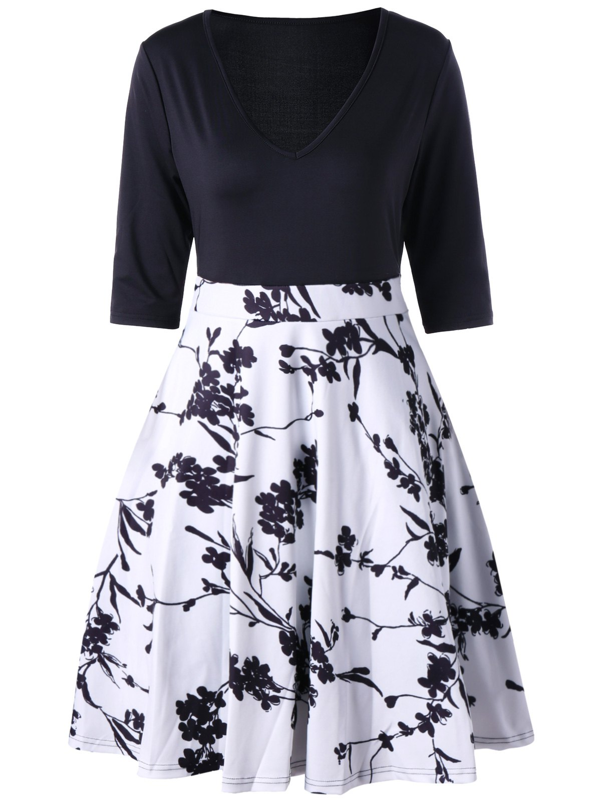 A Line V Neck Print High Waist Dress - BLACK M