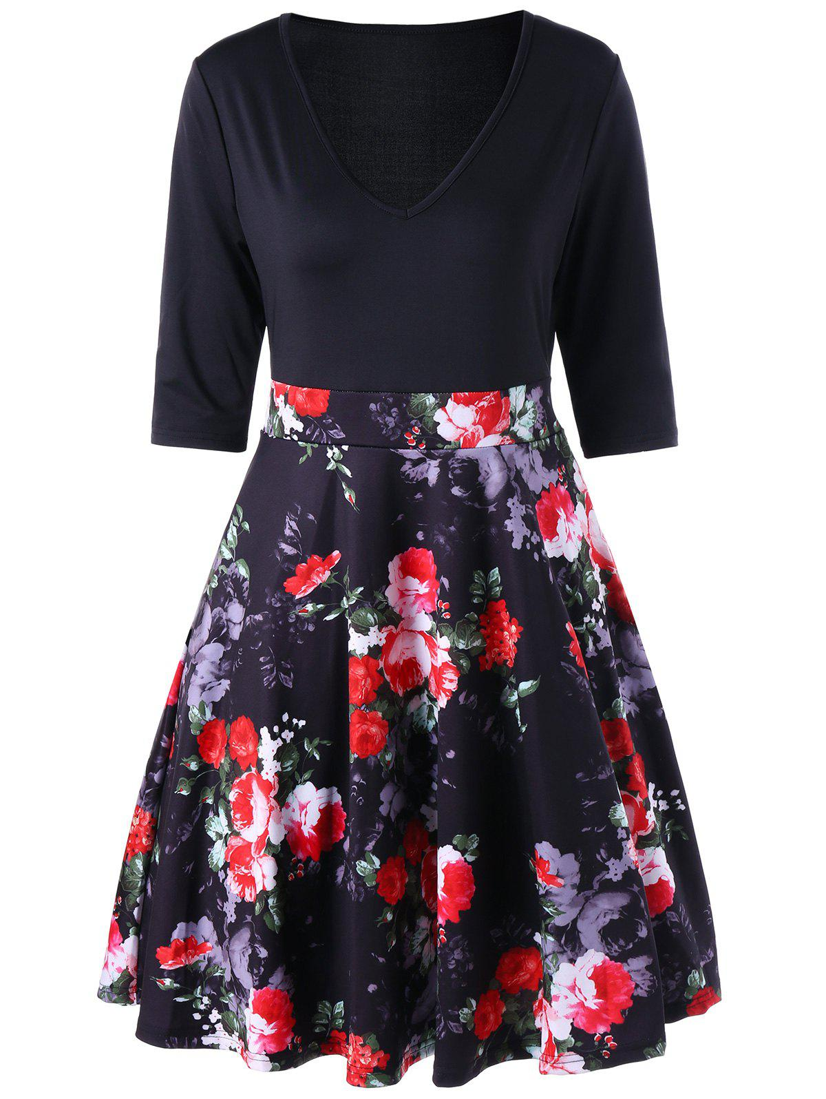 Floral V Neck High Waist A Line Dress - BLACK M
