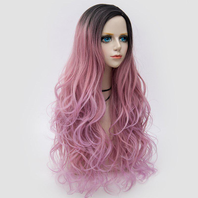 Long Side Parting Colormix Layered Shaggy Wavy Synthetic Party Wig - PINK