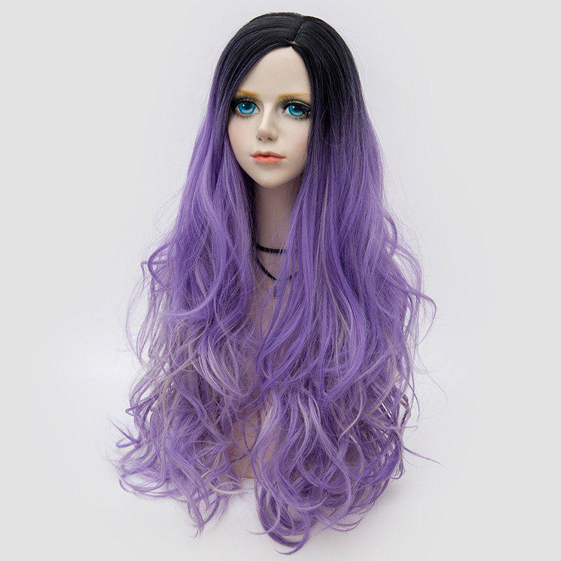 Long Side Parting Colormix Layered Shaggy Ombre Wavy Synthetic Party Wig - Pourpre