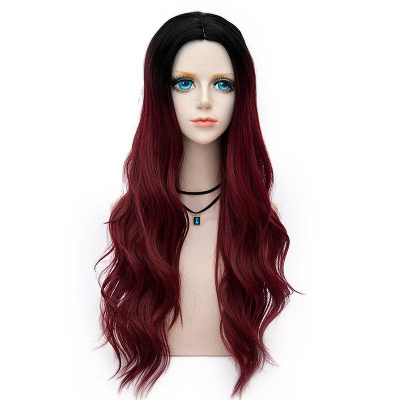 Long Center Parting Layered Wavy Synthetic Party Wig - DARK RED