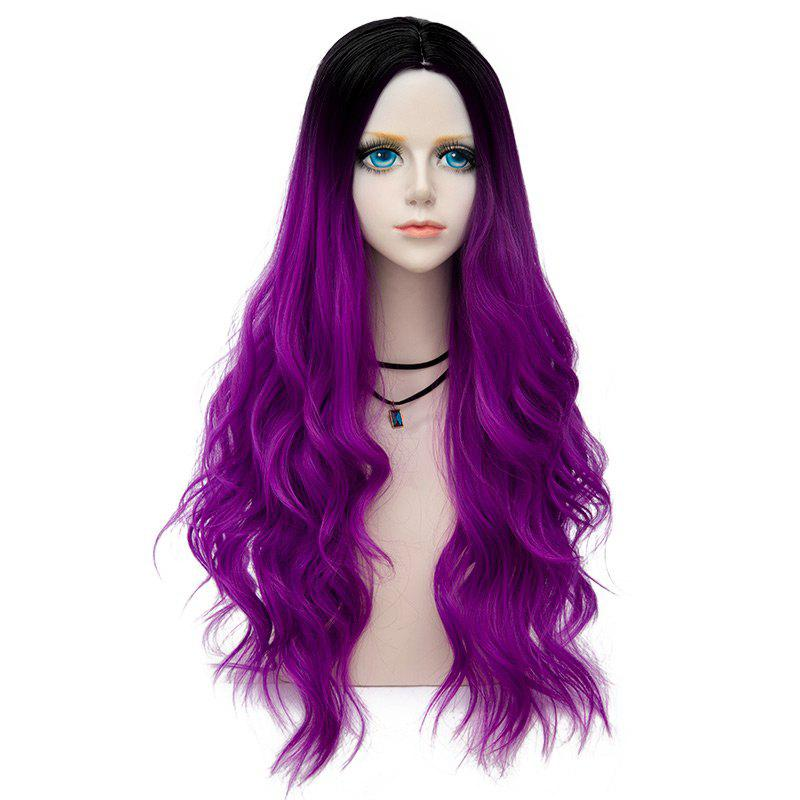 Long Center Parting Layered Wavy Synthetic Party Wig - BRIGHT PURPLE