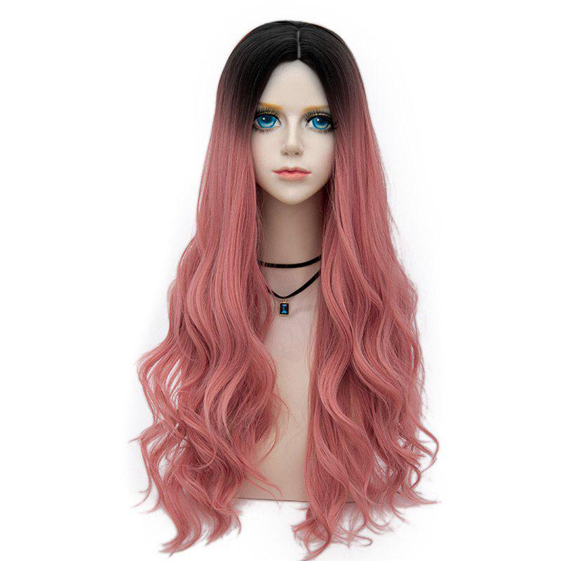 Long Center Parting Layered Wavy Synthetic Party Wig - DEEP PINK