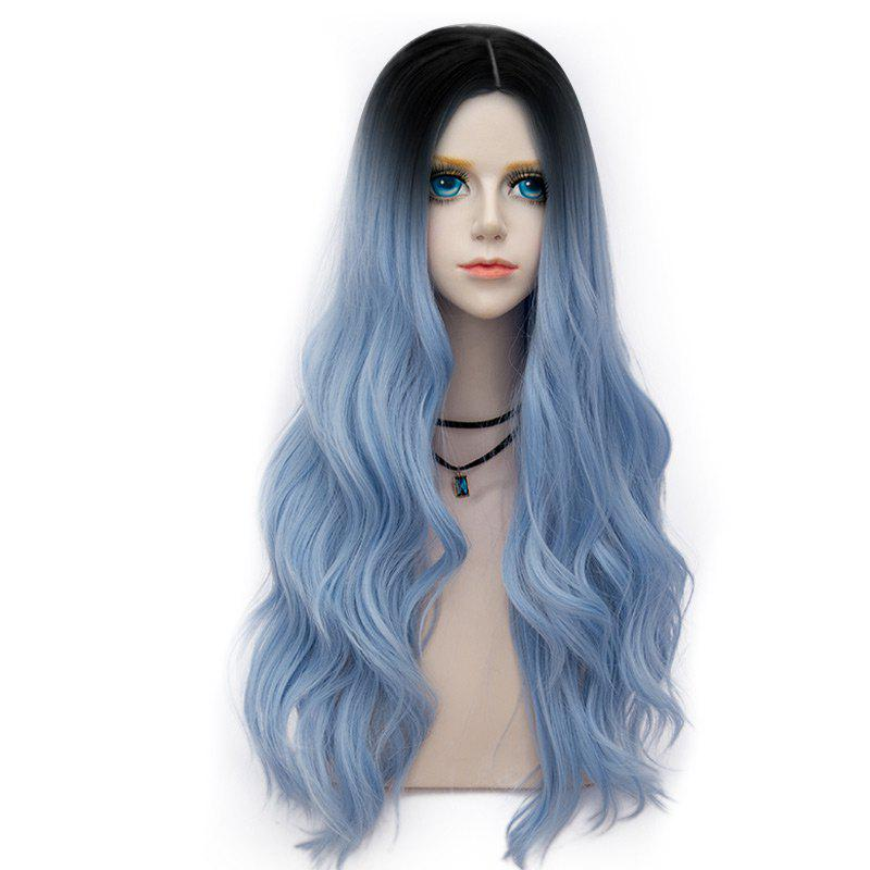 Long Center Parting Layered Wavy Synthetic Party Wig - WINDSOR BLUE
