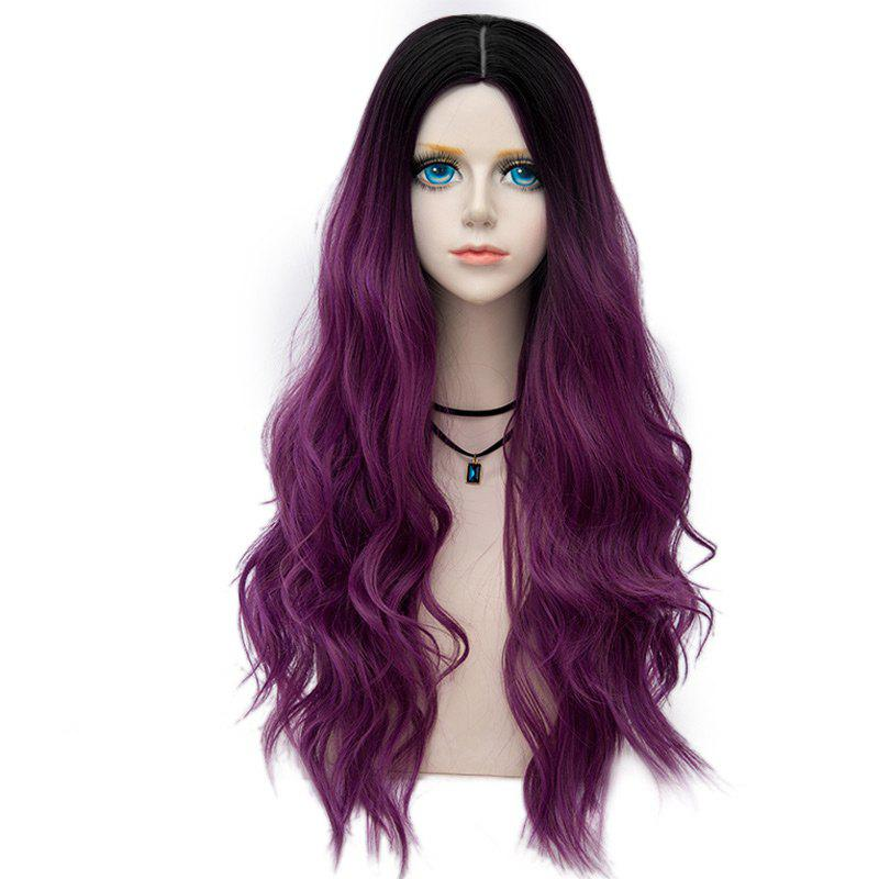Long Center Parting Layered Wavy Synthetic Party Wig - TARO PURPLE