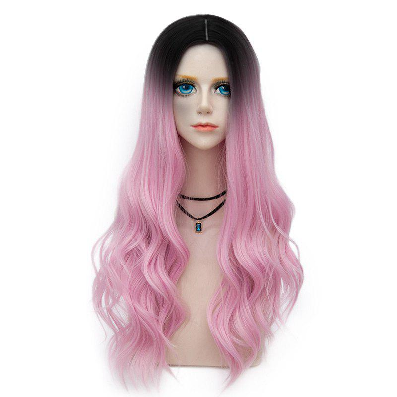 Long Center Parting Layered Wavy Synthetic Party Wig - LIGHT PINK