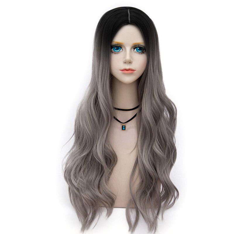 Long Center Parting Layered Wavy Synthetic Party Wig - GRAY