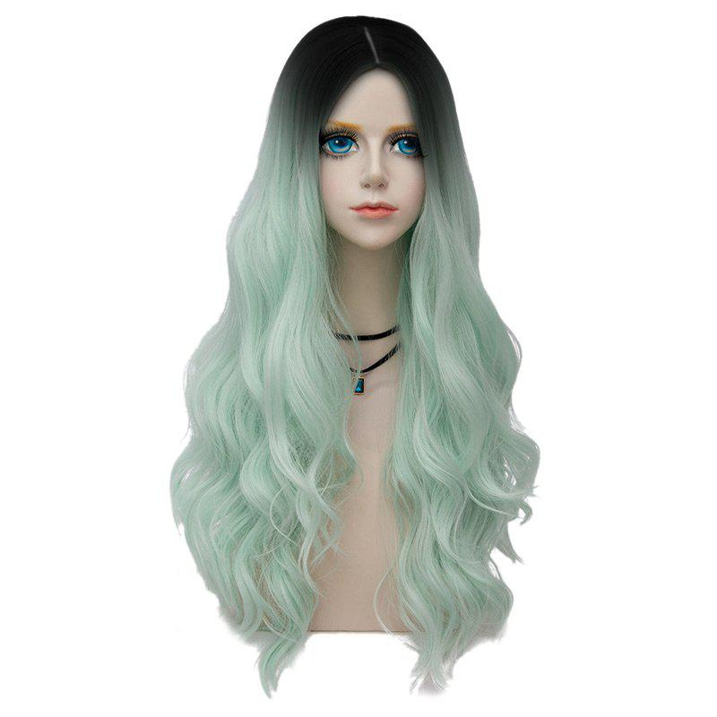 Long Center Parting Layered Wavy Synthetic Party Wig - NEON GREEN