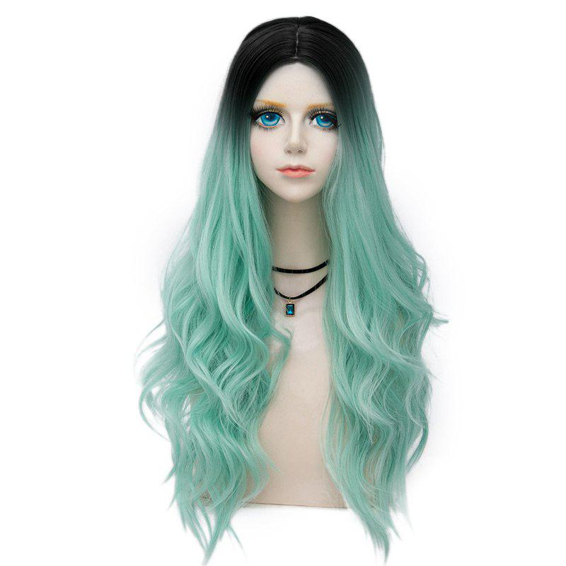 Long Center Parting Layered Wavy Synthetic Party Wig - MINT GREEN