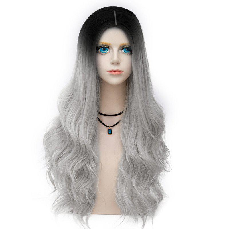 Long Center Parting Layered Wavy Synthetic Party Wig - FROST