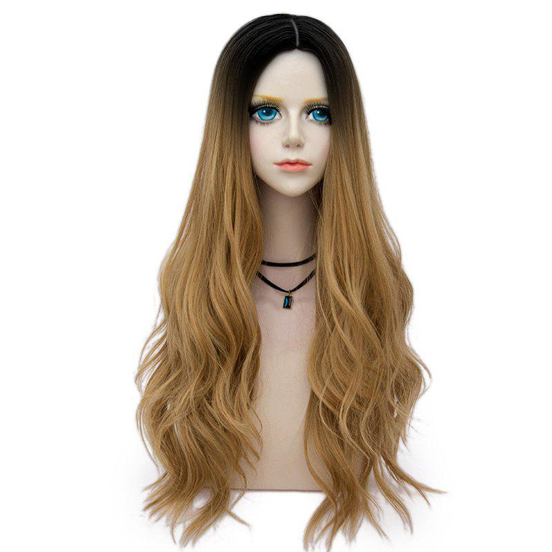 Long Center Parting Layered Wavy Synthetic Party Wig - GOLD BROWN