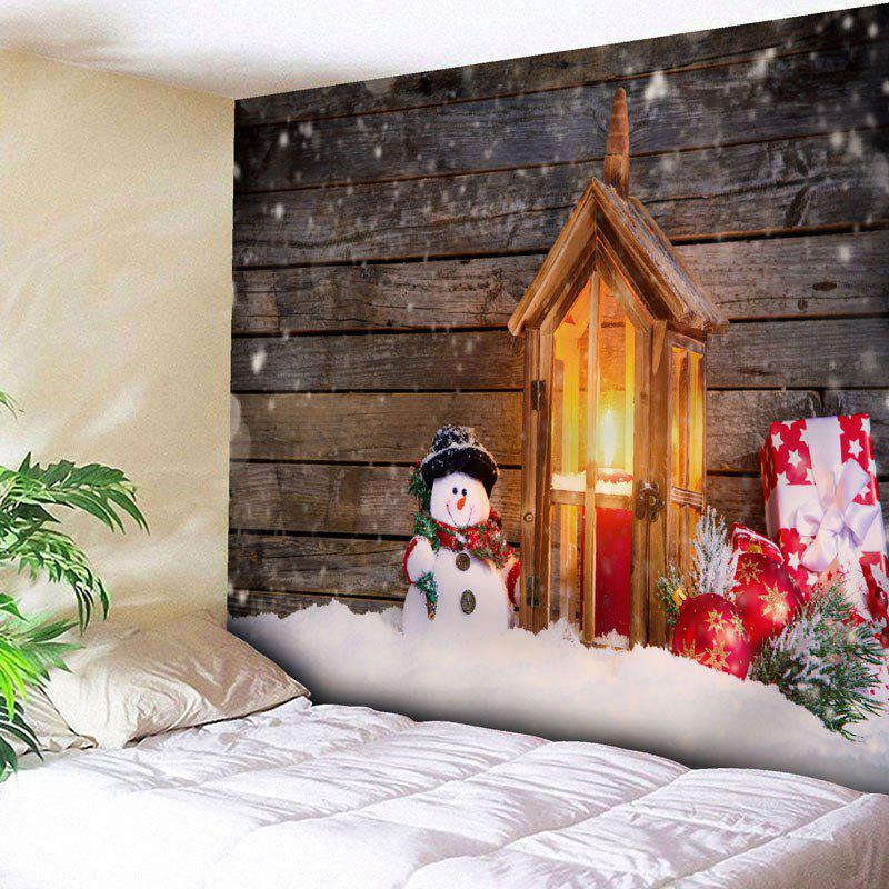 Christmas Candle Snowman Wood Wall Tapestry - WOOD COLOR W79 INCH * L59 INCH