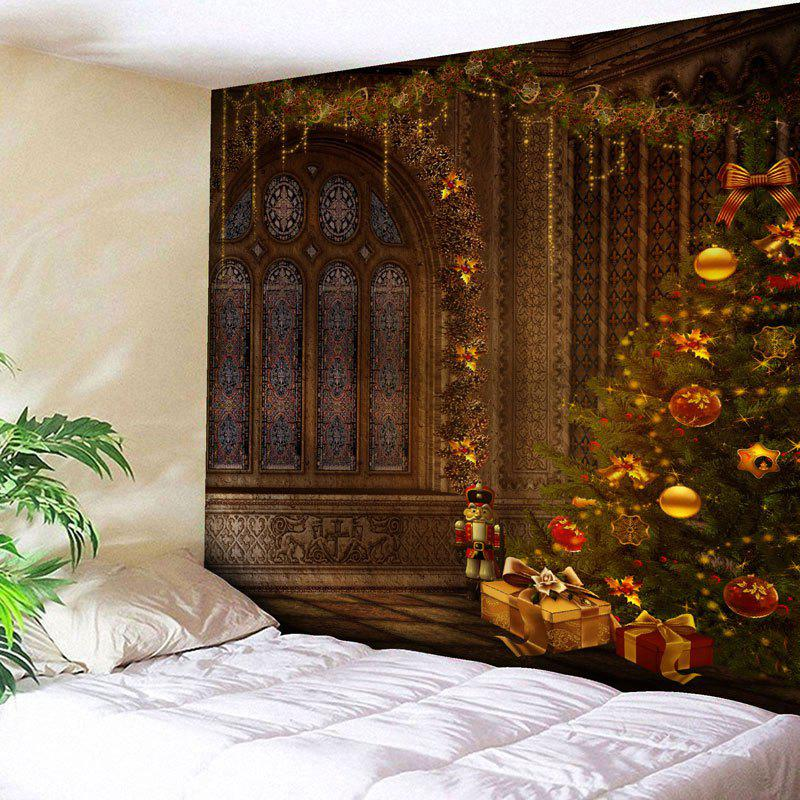 Christmas Tree Printed Wall Hanging Tapestry christmas tree snowman printed wall tapestry