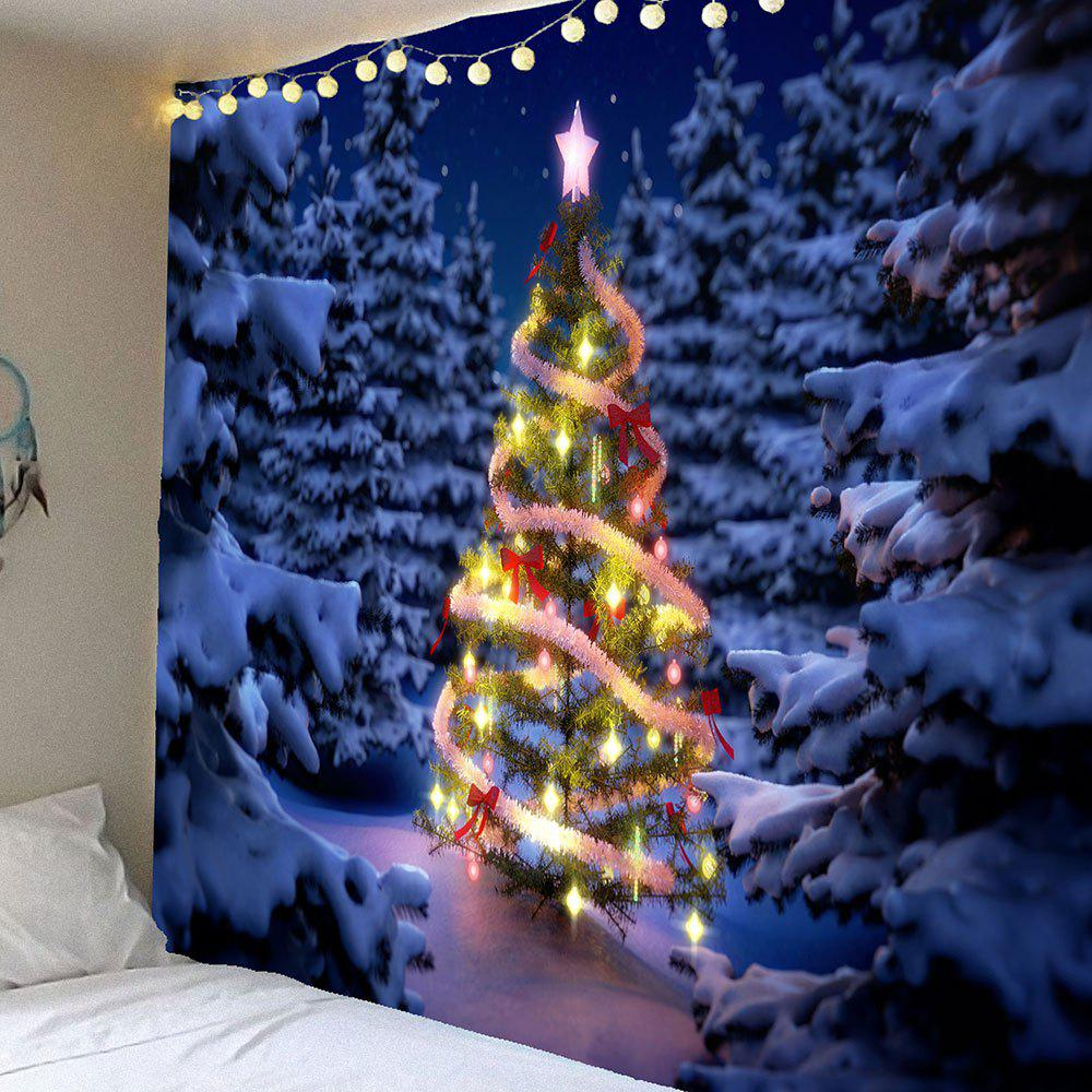 Snow Night Christmas Tree Waterproof Hanging Tapestry christmas town snow moon wall tapestry