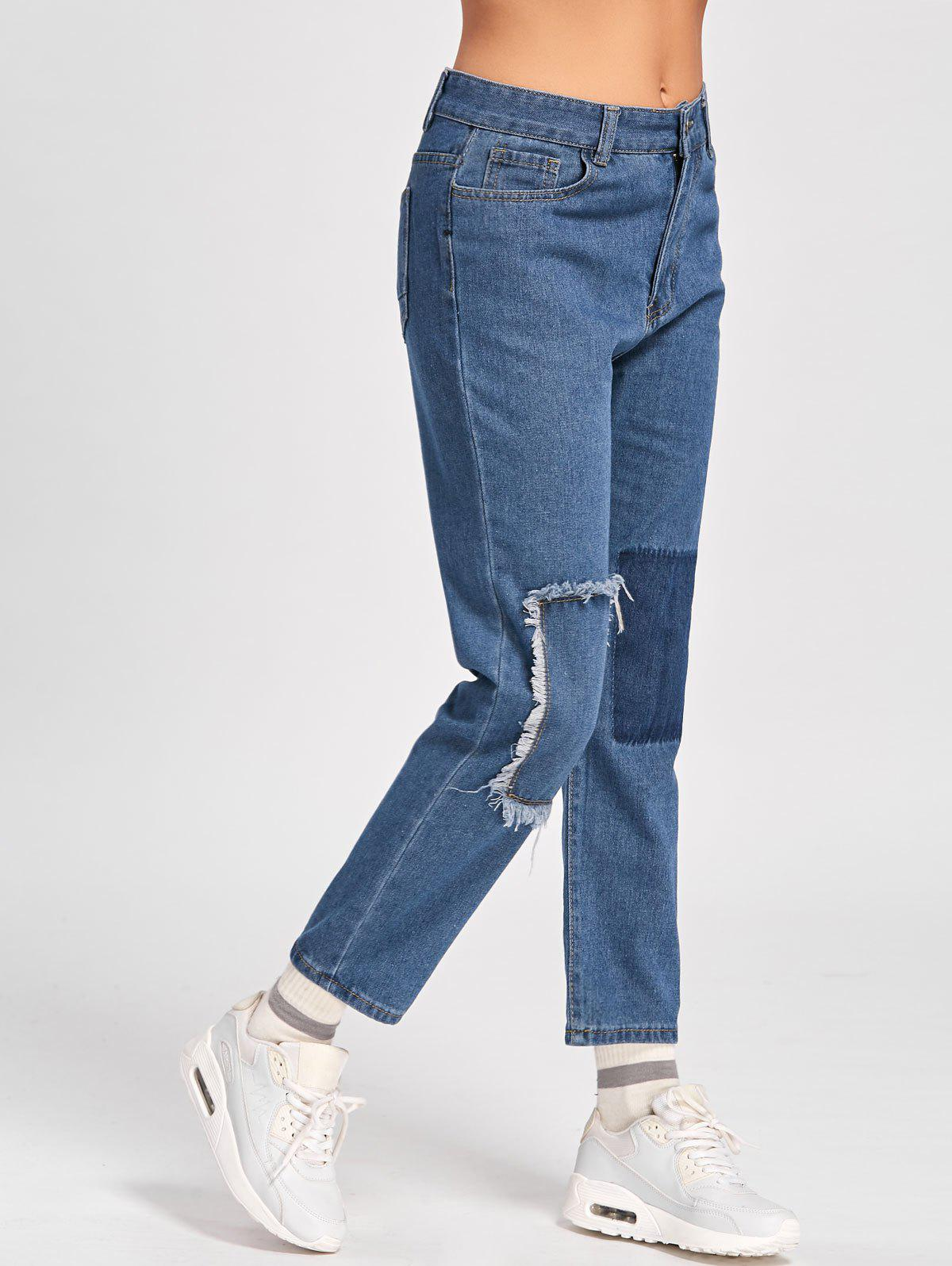 Patched Cropped Jeans - BLUE L