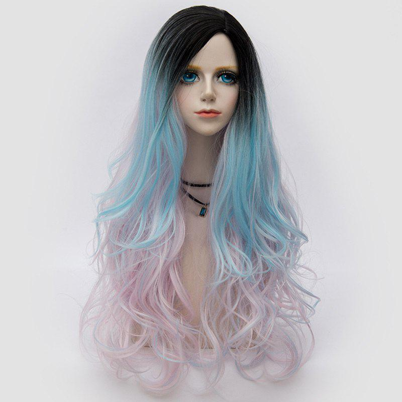 Side Parting Layered Fluffy Long Wavy Colormix Synthetic Party Wig - PINKISH BLUE