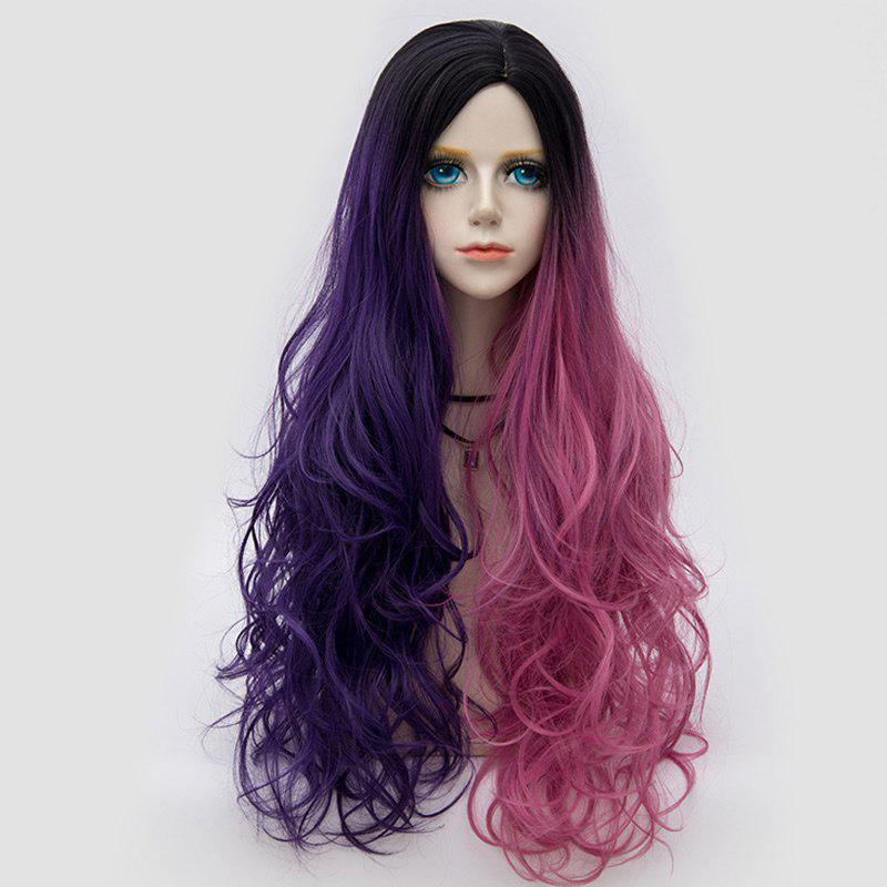 Long Side Parting Colormix Shaggy Layered Wavy Synthetic Party Wig - PINK/PURPLE