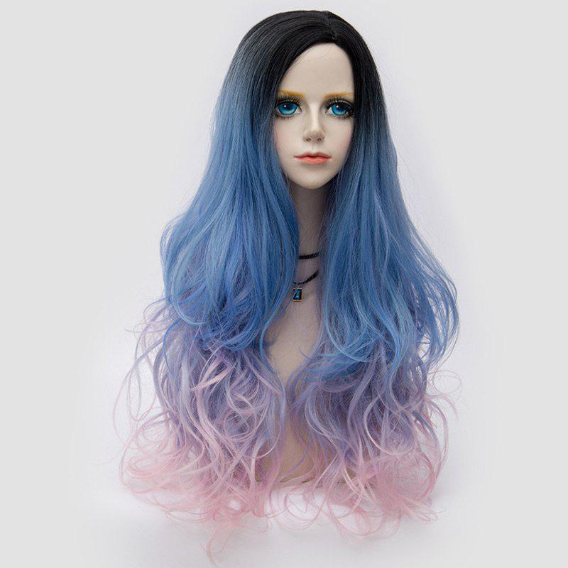 Longue partie latérale Colormix Shaggy Layered Wavy Synthetic Party Wig - Bleu et Rose