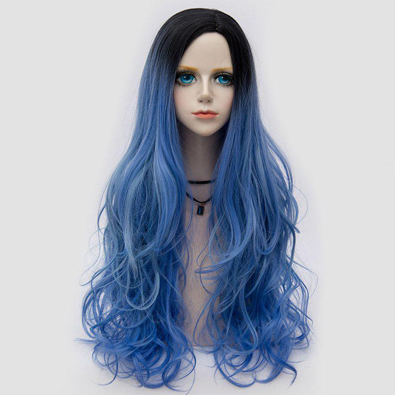 Longue partie latérale Colormix Shaggy Layered Wavy Synthetic Party Wig - Bleu