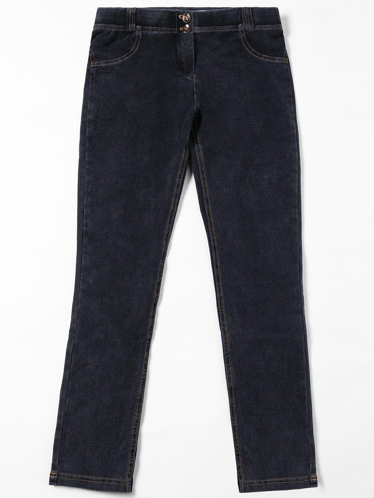 Topstitch Patch Pockets Jeans - Noir XL