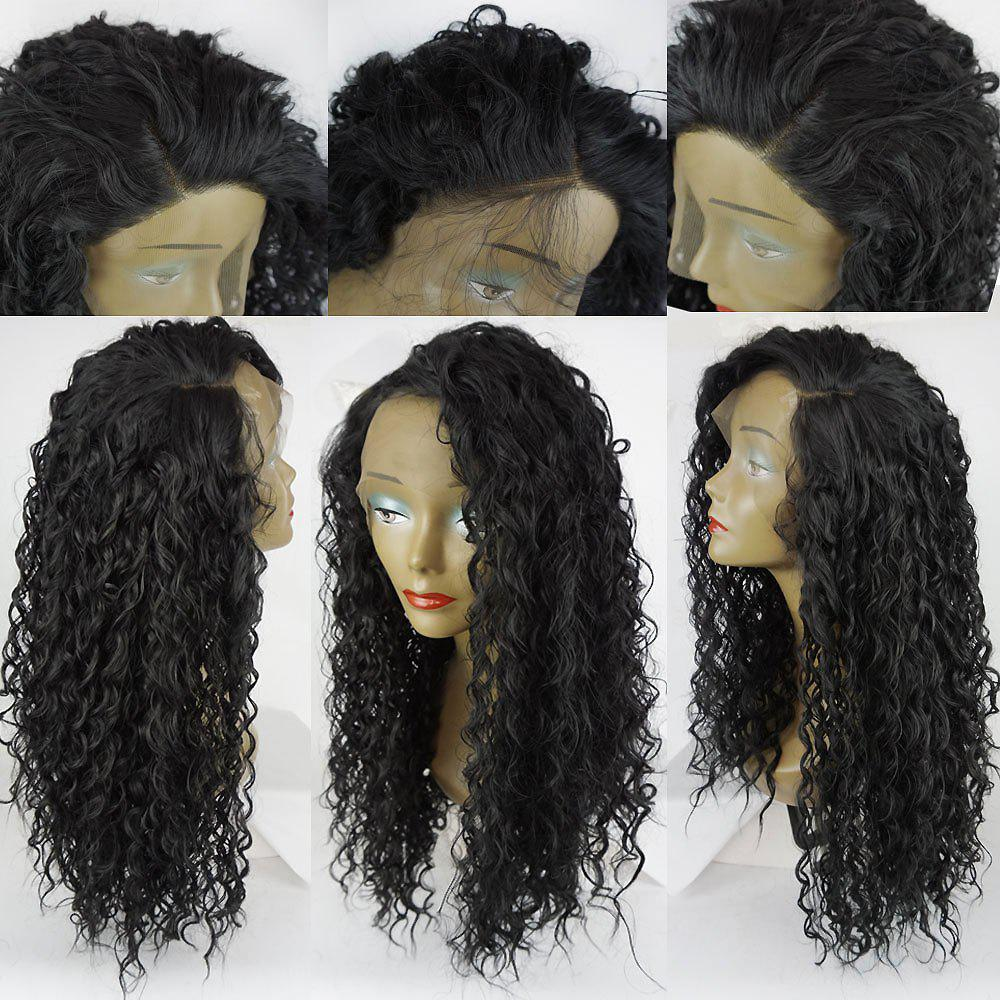 Side Parting Shaggy Long Curly Lace Front Synthetic Wig - BLACK