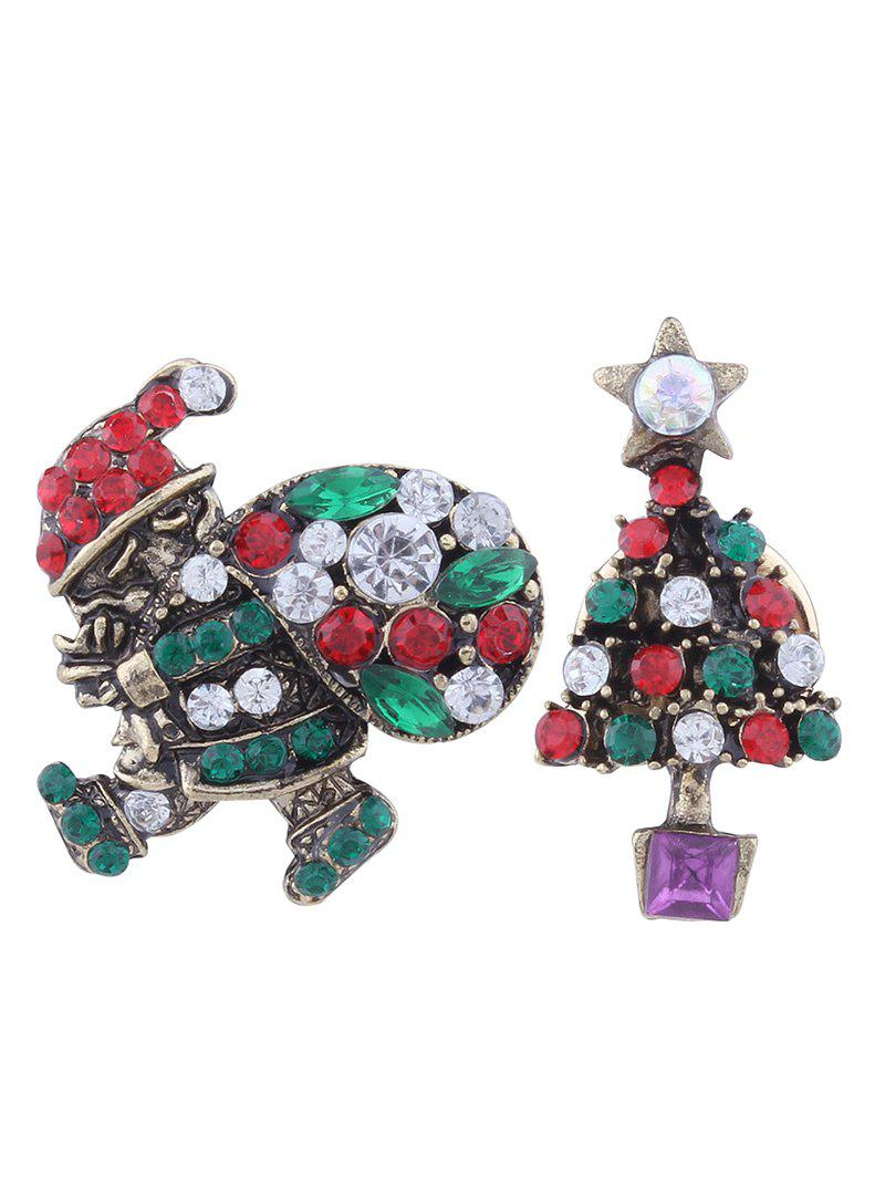 Rhinestone Christmas Santa Tree Star Brooches - GREEN