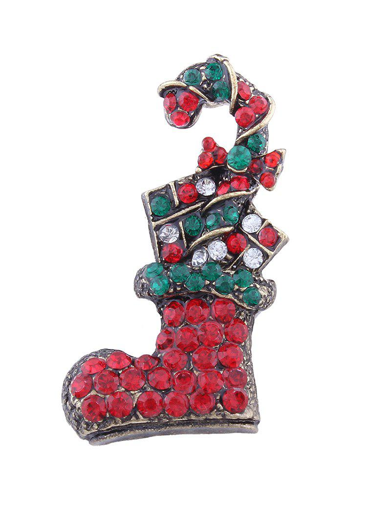 Rhinestone Christmas Shoe Candy Cane Brooch - RED