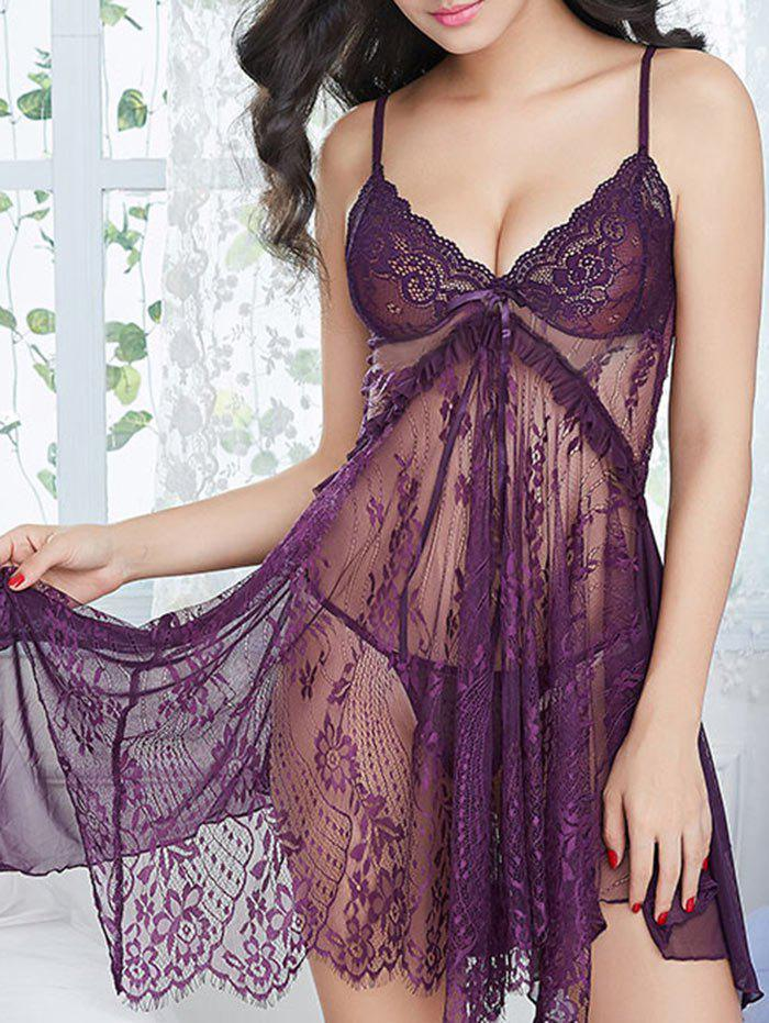 Lace See Through Slit Cami Babydoll - DEEP PURPLE ONE SIZE