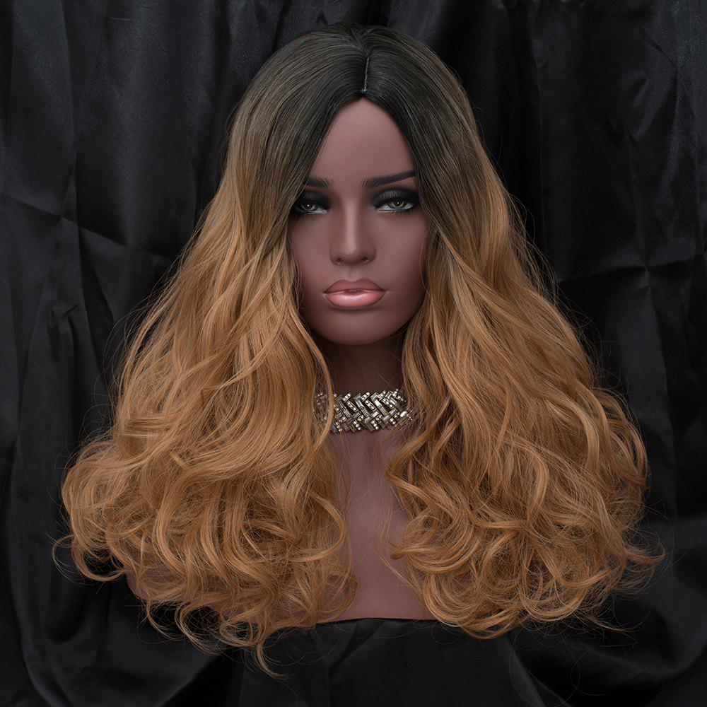 Long Side Parting Fluffy Wavy Synthetic Wig - BLACK/GOLDEN