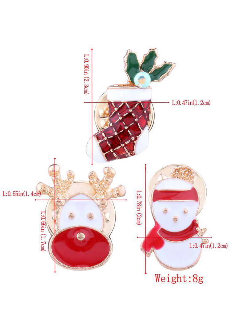3PCS Christmas Elk Snowman Stocking Brooches - RED