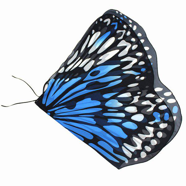 Colorful Butterfly Wings Shape Scarf - AZURE