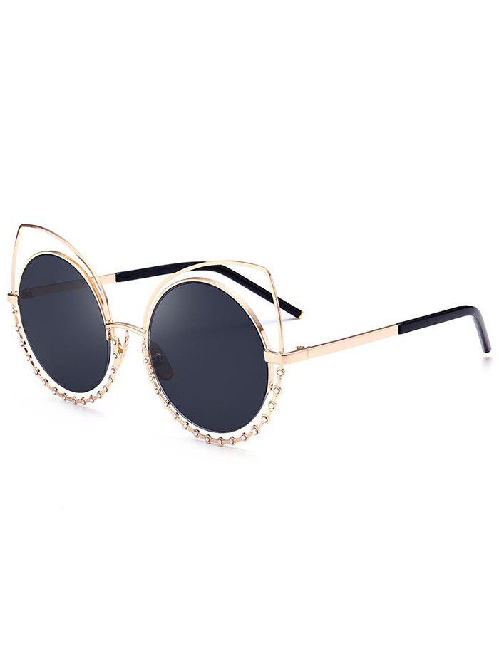 UV Protection Rhinestone Cat Eye Sunglasses - GLOD FRAME / BLACK LENS