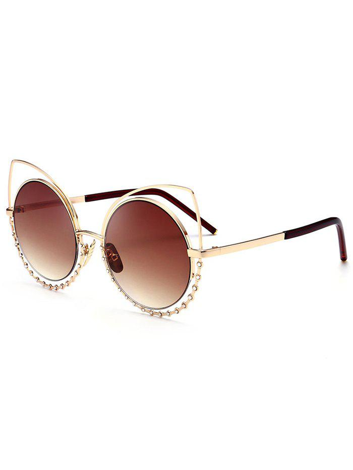 UV Protection Rhinestone Cat Eye Sunglasses - GOLD FRAME / DARK BROWN LENS