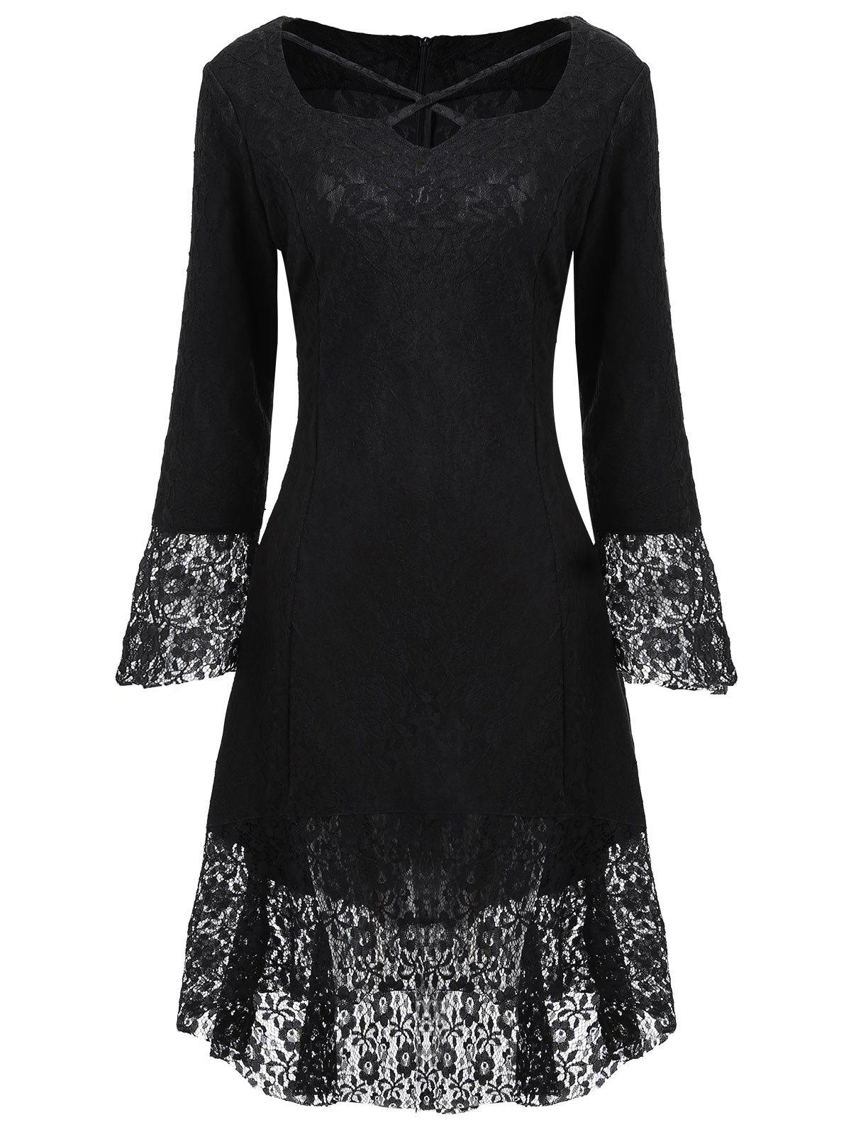 Sweetheart Neck Brocade Lace Dress - BLACK 2XL