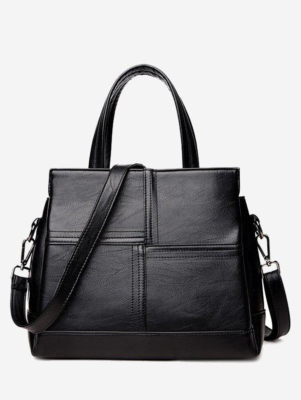 Stitching Cross Faux Leather Tote Bag - BLACK