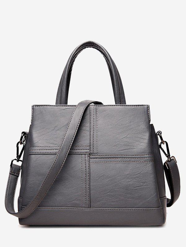 Stitching Cross Faux Leather Tote Bag - GRAY