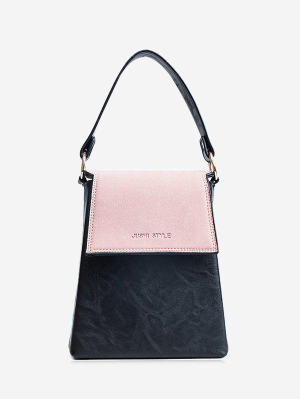 Color Block Embossing Faux Leather Handbag - PINK