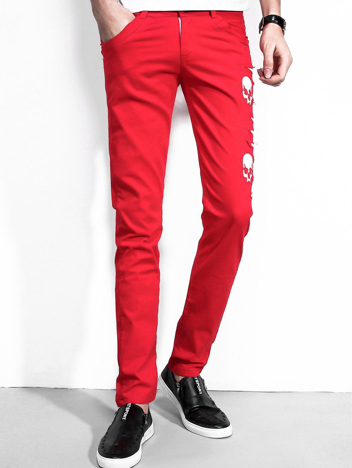 Pantalon en cuir Faux Leather Pattern - Rouge 32