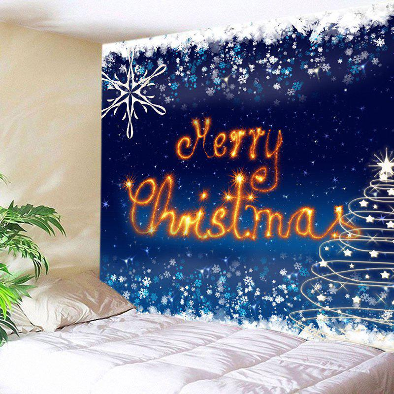Merry Christmas Snowflake Print Tapestry Wall Hanging Art - DEEP BLUE W91 INCH * L71 INCH