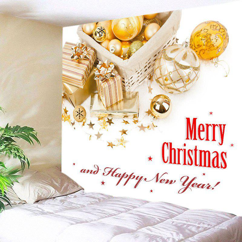 Merry Christmas Print Tapestry Wall Hanging Art - GOLDEN W91 INCH * L71 INCH