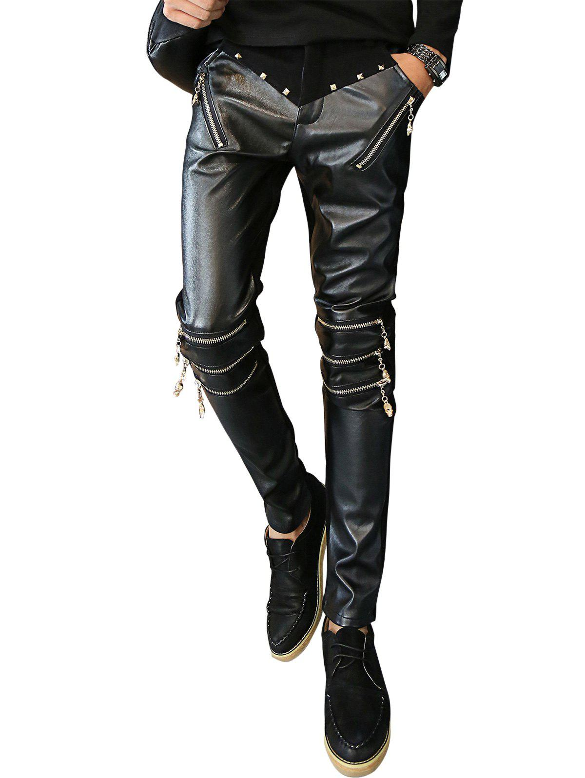 Rivet and Zip Embellished PU Panel Pants - BLACK 36