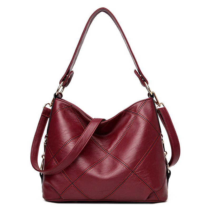 Stitching Quilt Cross Shoulder Bag - WINE RED