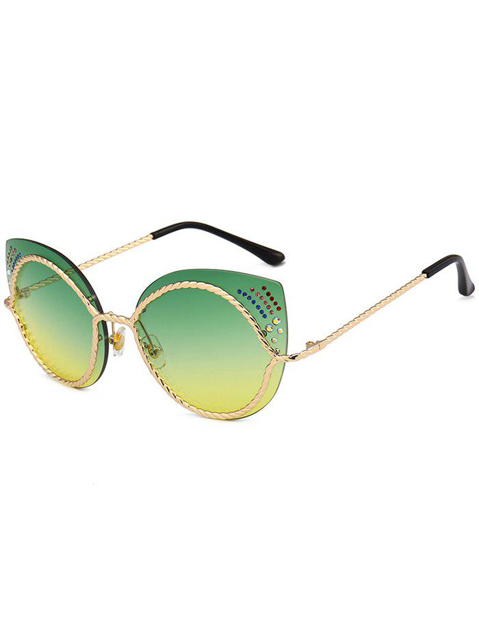 Rhinestones Cat Eye Mirror Sunglasses - YELLOW / GREEN