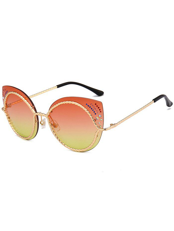 Rhinestones Cat Eye Mirror Sunglasses - MANDARIN